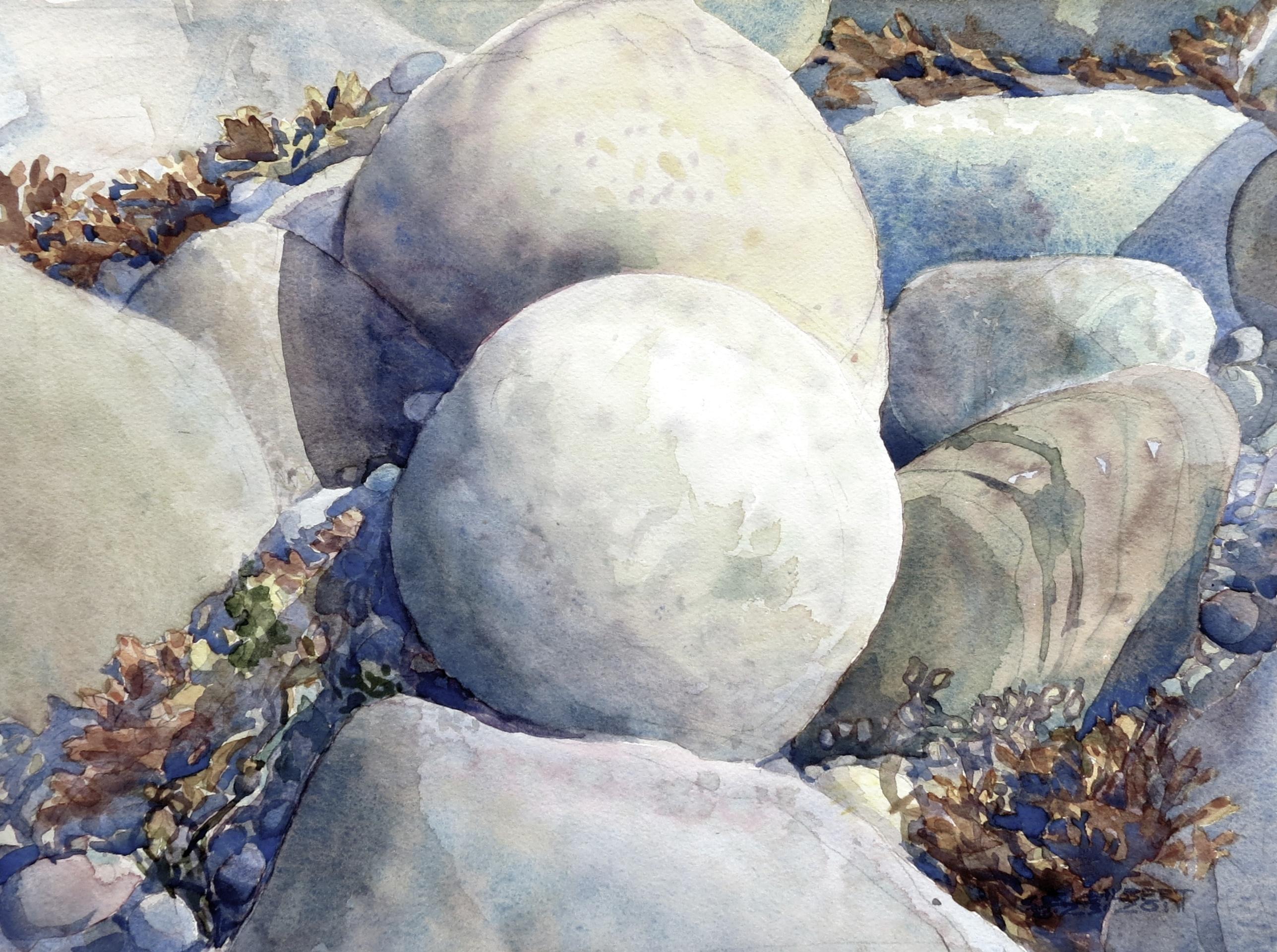 Water Rocks I Watercolor On Rag Paper 10 X 14 8 1 2012